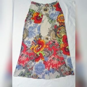 Chico's Maxi Skirt Floral Lined 00 XS EUC